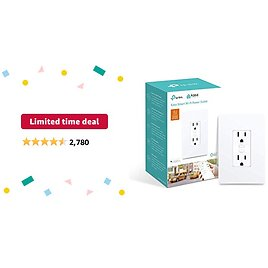 Limited-time Deal: Kasa Smart Plug KP200, In-Wall Smart Home Wi-Fi Outlet Works with Alexa, Google Home & IFTTT, No Hub Required, Remote Control, ETL Certified