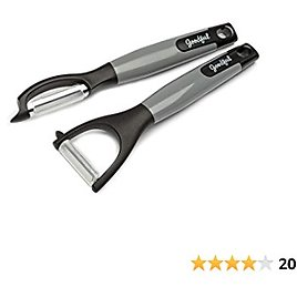 Goodful 2-Piece Set, Ultra Sharp Stainless Steel Y/Straight Peelers for Fruits, Veggies, Potatoes, Gray, 2pc, Black