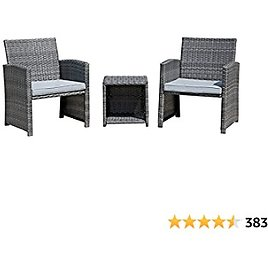 OC Orange-Casual Outdoor Furniture Set PE Patio Porch Chairs with Storage Side Table, Rattan Cushioned Bistro Set, 3-Piece, Gray