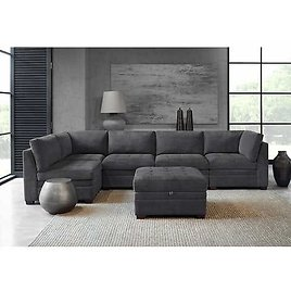 Tisdale Fabric Sectional with Storage Ottoman