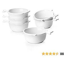 DOWAN 10 Oz Ramekin Bowls with Handle, Cute Souffle Dishes for Baking, Oven Safe Ramekin Dish with Fish-shaped Tail Handle for Lava Cake Dessert, Custard, Pudding and Ice Cream Set of 6, White