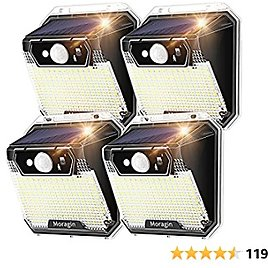 Solar Outdoor Lights Motion Sensor, Moragin Solar Lights Outdoor Waterproof, 148 LED Security Lights Dusk to Dawn Wireless with 3 Modes Super Bright for Pathway Yard Fence Stairs Porch ( 4-Packs)