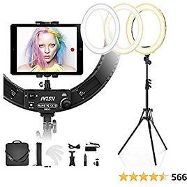 IVISII 19 Inch Ring Light with Stand and Phone Holder,60W Bi-Color or for Live Stream/Makeup/YouTube Video/TikTok/Zoom/Photography