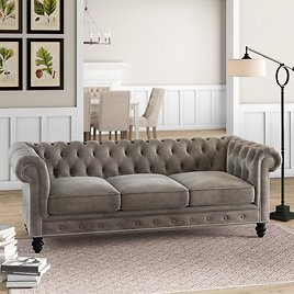 """Price Drop! Eufaula 87"""" Genuine Leather Rolled Arm Chesterfield Sofa"""