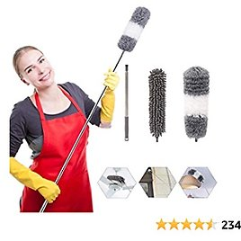 Microfiber Duster Cleaning Kit Extendable Dusters for High Ceiling Fans Hand Wall Duster, Washable Dust Brush Extra Long Extension Pole (30 to 100 Inches) Duster