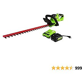 """CLEARANCE SALE Greenworks 24V 22"""" (Laser Cut) Hedge Trimmer, 4Ah USB Battery and Charger Included HT24B414"""