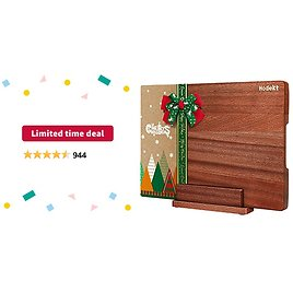 Limited-time Deal: Wood Cutting Board with Stand, Extra Large Wooden Chopping Boards, Thick Acacia Bamboo Butcher Block BPA FREE Reversible Meat Vegetable Cheese Kitchen Board