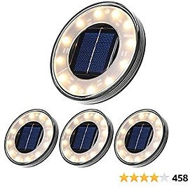 Tomshine Solar Ground Lights, Disk Lights Outdoor Warm White, Waterproof 12 LED Beads Solar In-ground Lights, Outdoor Walkway Lights Decorative for Patio Pathway Lawn Yard Driveway(4 Pack)