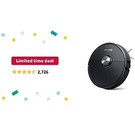 Limited-time Deal: Roborock S6 Robot Vacuum, Robotic Vacuum Cleaner and Mop with Adaptive Routing, Multi-floor Mapping, Selective Room Cleaning, Super Strong Suction, and Extra Long Battery Life, Works with Alexa(black)
