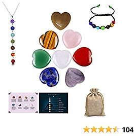 Worry Stones for Anxiety for Kids, Chakra Bracelets for Women Men and Crystal Necklace with Meditation Gifts of 8pc Heart Shape 0.78inch Crystals and Healing Stones of Chakra Stones Amethyst Crystal