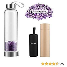 Crystal Glass Water Bottle, Crystal Water Bottle Amethyst, 17oz Healing Crystal Infused Water Bottle with Removable Amethyst Crystal and Protective Sleeve (Amethyst Crystal Bottle)