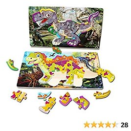 2Pack Wooden Jigsaw Puzzles for Toddlers Montessori Shape Toys Educational Toys Learning Numbers and Alphabet