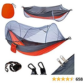 YOOMO Camping Hammock with Mosquito Net & 10ft Hammock Tree Straps Lightweight Parachute Fabric Travel Bed for Hiking, Backpacking, Backyard. (Gray/Orange)