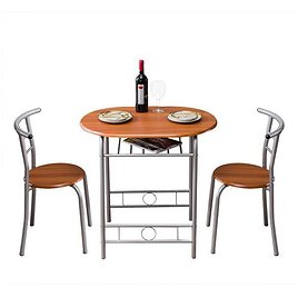 3-Piece Wooden Round Table & Chair Set for Kitchen, Dining Room, Compact Space W/Steel Frame (One Table and Two Chairs)