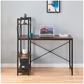 Computer Desk with Shelves 44 Inch Writing Study Table with Adjustable Storage, Black & Walnut