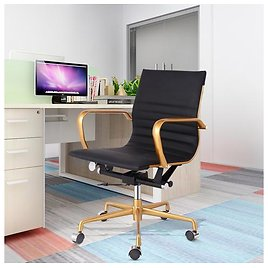 Ergonomic Eames Mid Back Executive Office Chair with Upholstered Swivel 440lbs