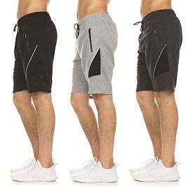 3-Pack: Men's French Terry Shorts with Zipper Pockets