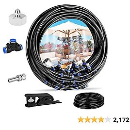 """Deyard Misting Cooling System 65.6 FT (20M) with 20 Copper Metal Mist Nozzles and a Connector(3/4"""") for Trampoline Patio Misting Micro Flow Watering Automatic Distribution System"""