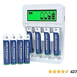 Deleepow AAA Rechargeable Batteries Ni-MH 1100mAh 1200 Cycles (8Pcs) with LCD Smart Battery Charger for Rechargeable AA AAA Batteries
