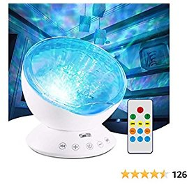 Jusale Ocean Wave Projector Remote Control Night Light with Speaker 7 Modes Undersea LED Lamp for Kids Adults