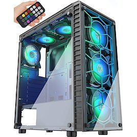 69% Discount - MUSETEX Phantom Black ATX Mid-Tower Case with USB 3.0 and 6 ×120mm ARGB Fans, Gaming PC Case Computer Chassis