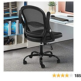 SAMOFU Office Task Desk Chair Swivel Home Comupter Chairs with Flip-up Arms and Adjustable Height Black
