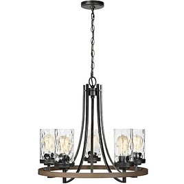 TODAY! Gaston 5-Light Weathered Gray Rustic Farmhouse Wagon Wheel Chandelier with Distressed Oak Accents and Water Glass Shades