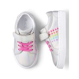 70% Off! Toddler Girls Glitter Rainbow Hearts Low Top Sneakers