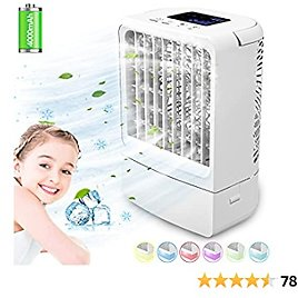 Portable Air Conditioner Fan, Personal Air Cooler Mini with Timing, 7 Colors Light, 3 Speeds Quiet Air Humidifier, for Room, Home, Office