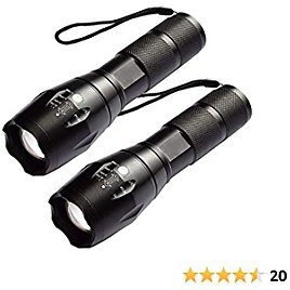Flashlights 2 Pack, ZHUPIG LED Flashlight, Handheld Flashlight with High Lumens, Zoomable, 5 Modes, Water Resistant for Camping, Outdoor, Emergency