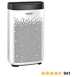 AIPER Air Purifier for Home with H13 True HEPA Filter- A Higher Grade of HEPA, Air Cleaner for Smokers, Allergens, Pets, Hair, Pollen, Dust, Odors, Ideal for Large Room Up to 500sq/ft