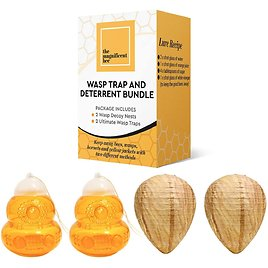4 Piece Ultimate Wasp Deterrent Bundle, 2 Wasp Trap and 2 Wasp Decoys for $22.46