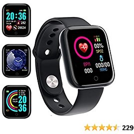 Smart Watch, Fitness Tracker with Heart Rate Monitor, Activity Tracker with 1.44 Inch Touch Screen,Waterproof,Sleep Monitor,Activity Tracker Pedometer for Women and Men,for IPhone Android (Black)