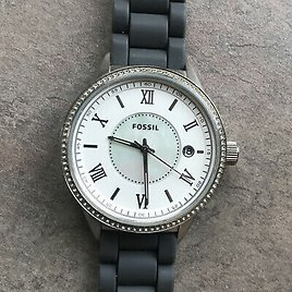 Fossil Womens Watch Silver Tone Case White Mother of Pearl Dial With Date Bin A