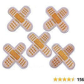 J.CARP 5Pcs Band Aid Embroidered Iron On Patch for Clothes, Iron-on Patches / Sew-on Appliques Patches for Vest, Jackets, Backpacks, Caps, Jeans to Cover Holes / Logo, Size: 3x3 Inch
