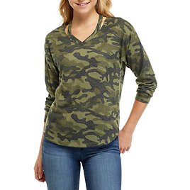 Full Circle Trends Junior's Hacci V-Neck Cutout Printed Pullover