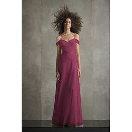 Pleated Bobbin Net Bridesmaid Dress with Tie Swags