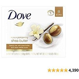 Dove Purely Pampering Beauty Bar For Softer Skin Shea Butter More Moisturizing Than Ordinary Bar Soap 3.75 Oz 8 Bars