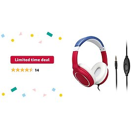 Limited-time Deal: Kids Headphones with Microphone Over-Ear, Adjustable Headband, Stereo Sound, 3.5mm Jack, Tangle-Free, Volume Control, Wired Children Headphones for Kids Children Teens Boys Girls School PC Cellphone