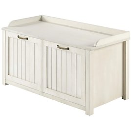 Modern Farmhouse Tray Top Grooved Drop Down Shoe Storage Entry Bench