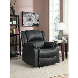 Relax A Lounger Preston 38 In. Width Big and Tall Black Faux Leather 1 Position Recliner-RR-PRK1CP3001
