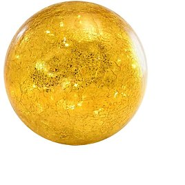 LUMABASE Battery Operated Golden Crackle Glass Globe Light with Fairy String Lights-63101