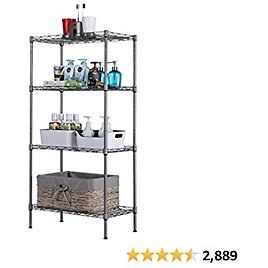 """SINGAYE 4 Tier Adjustable Wire Shelving Metal Storage Rack for Laundry Bathroom Kitchen 530Lbs Capacity 13.4"""" D X 23.2"""" W X 47.2"""" H Silver"""