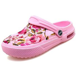 Pink & Green Floral Perforated Clogs