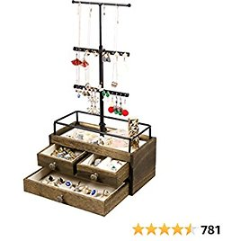 Jewelry Organizer Tower with Double-Layer Wooden Drawer Storage Box - 3 Tier Jewelry Stand for Necklaces, Bracelet, Earrings & Ring Jewelry Tree Jewelry Stand Organizer Metal & Wood