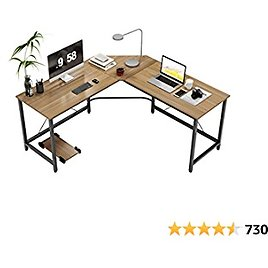 DlandHome L-Shaped Computer Desk 59 Inches X 59 Inches Home Office Workstation Corner Table with CPU Stand, ZJ02-OB