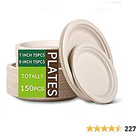 Paper Plates Heavy Duty,Dinner Plates Paper,Natural Disposable Paper Plates for Party,Sugarcane Disposable Plates Eco,9 Inch and 7 Inch [150 PCS]