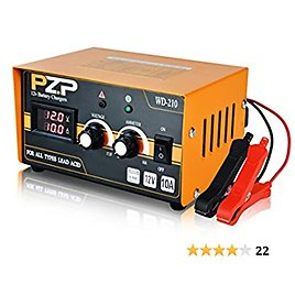 PZP 0-10 Amp 12v Adjustable Smart Battery Charger, Portable Fully Automatic Battery Maintainer for Marine Motorcycle and Automotive Batteries(11-17.5V, Metal)