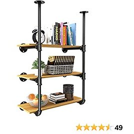YITAHOME 3 Tier DIY Pipe Shelves Wall Mounted Industrial Retro Iron Shelf, Open Pipe with Hanging Bracket, DIY Storage Shelves, Kitchen Shelves, Tool Shelves, Office Shelves, Bookshelves and Bookcases