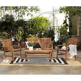 Manor Park 4-Piece Chevron Outdoor Patio Chat Set - Brown Only
